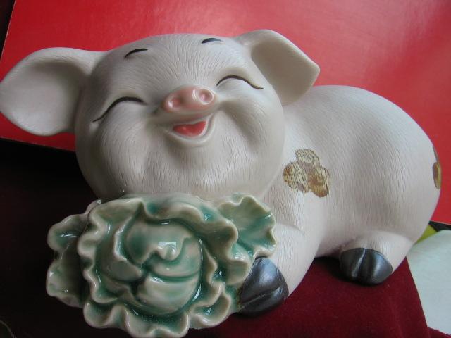 石湾陶瓷工艺----祝(猪)福乐百才(白菜)
