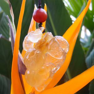 天然水晶童子灵芝寿桃
