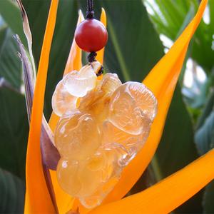天然黄透明水晶童子灵芝寿桃