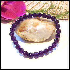 天然紫水晶圆珠手链