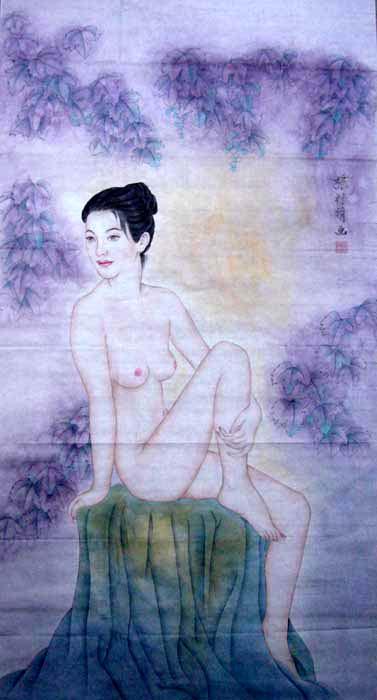 古代美人图手绘宣纸