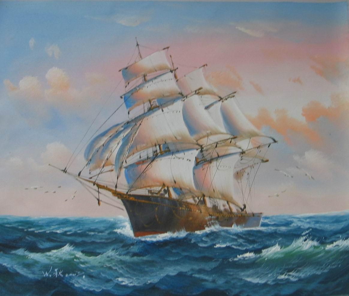 油画《一帆风顺》图片