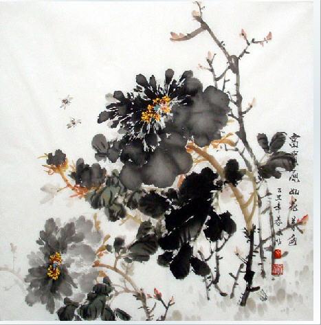 素描牡丹花步骤-桌面墨牡丹的画法 小鱼的画法 国画写意牡丹的画法图片