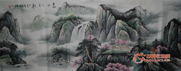 名家山水画----四川当代实力画家六尺作品 有局部大图图片