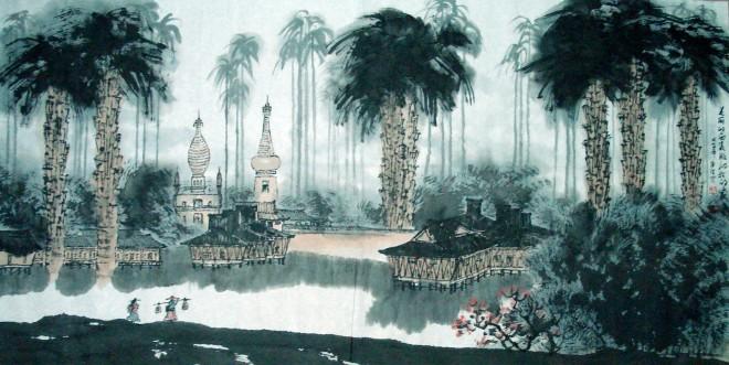 王广德4尺精品山水《美丽的西双版纳可爱的家》