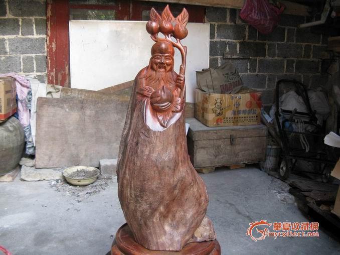 """正在拍卖:红酸枝木雕""""老寿星"""""""