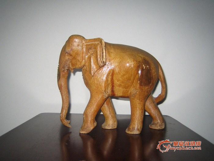 0元拍工艺品木质大象大摆件
