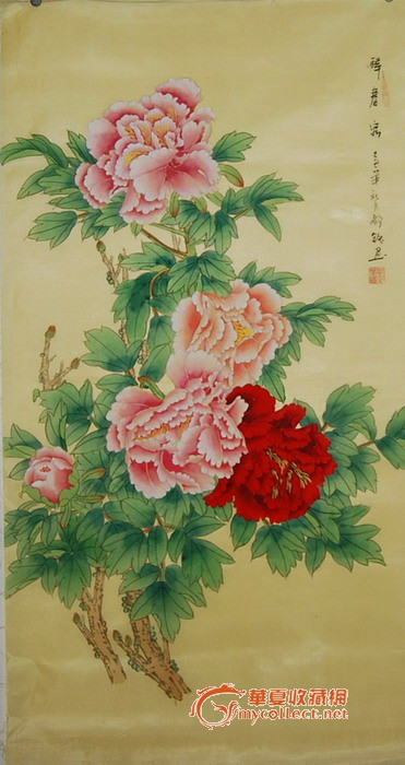 绢工笔画牡丹