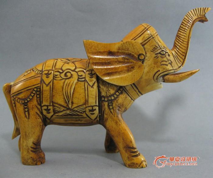 骨雕 大象 吉祥如意摆件