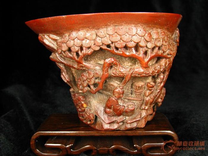 竹根雕仿犀牛角杯图1