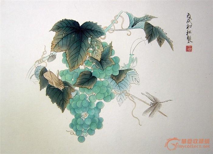 国画葡萄小品圆形