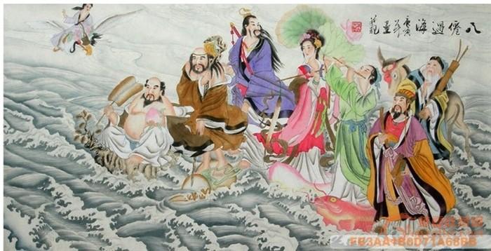 纯手工国画-【八仙过海.各显神通袁杰 三尺人物