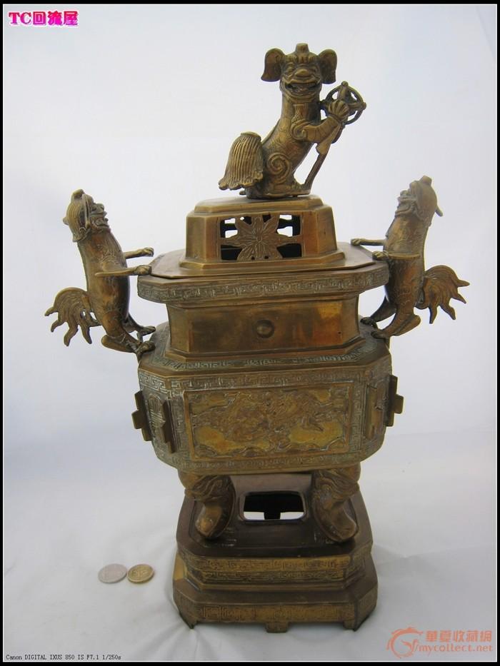 (77)晚清民国 巨型 狮耳连座铜方香炉