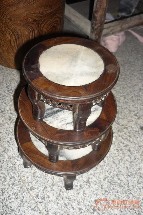 木头镶嵌大理石底座 三个一起拍