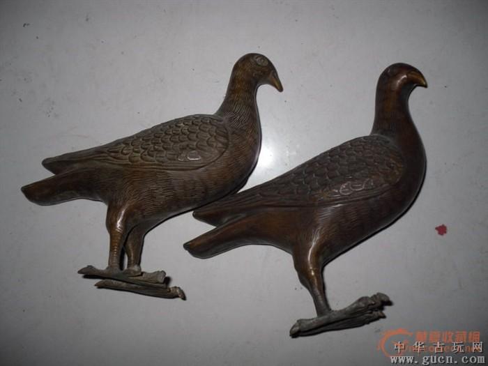 紫铜鸽子摆件一对图1-在线竞价-图片|图库|价格