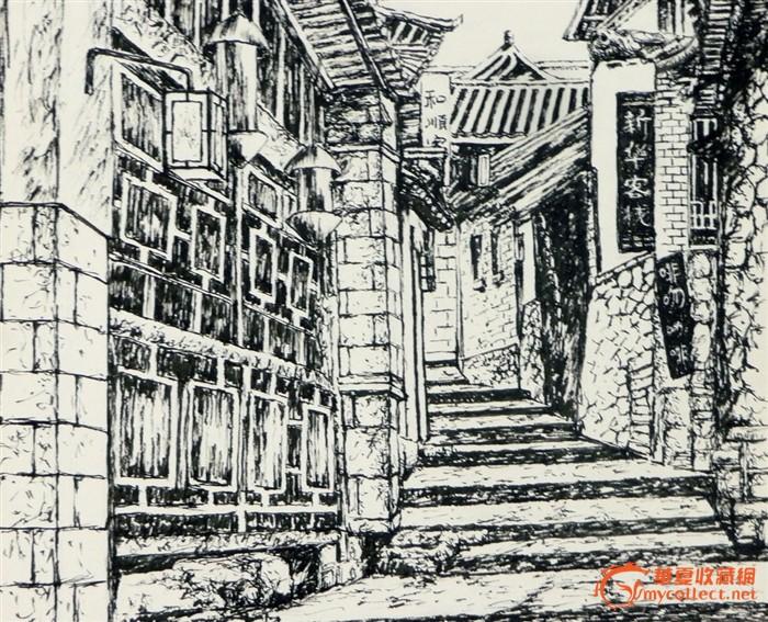 勾奇志钢笔画作品——《古镇小巷》