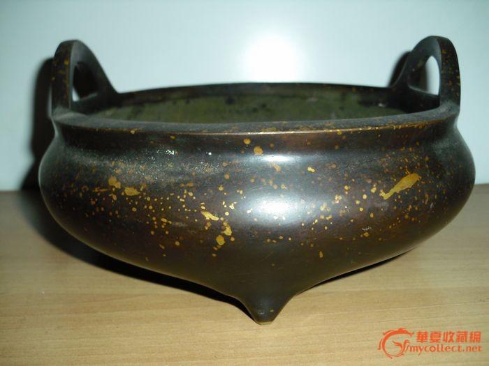 超大厚重近4斤的洒金铜香炉图1-在线竞价-图片|图库|价格