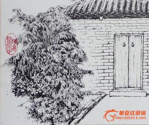 勾奇志—钢笔画作品《庭院深深》