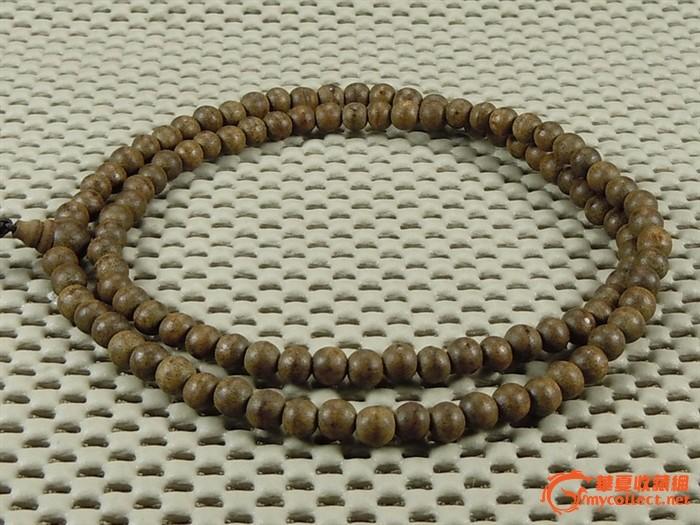 越南沉香木白沙沉108佛珠项链 手链 佛珠直径6毫米 包