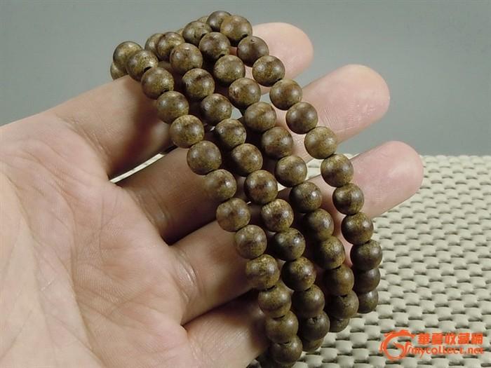 越南沉香木白沙沉108佛珠项链 手链 佛珠直径8毫米 包