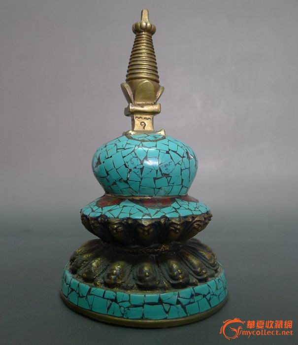 14 铜 绿松石佛塔