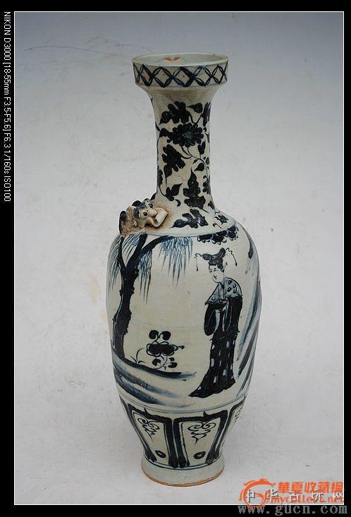 元青花缠枝花纹仕女图螭虎瓶