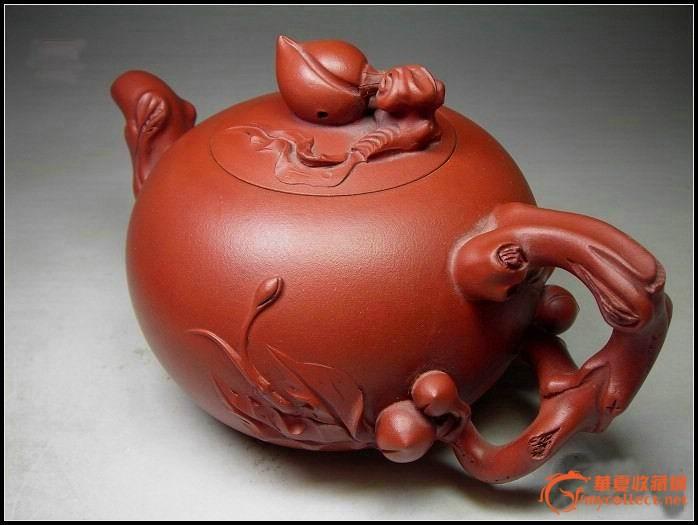 台湾古农陶艺紫砂厂特艺一分厂90年代老货【松鼠桃】紫砂壶