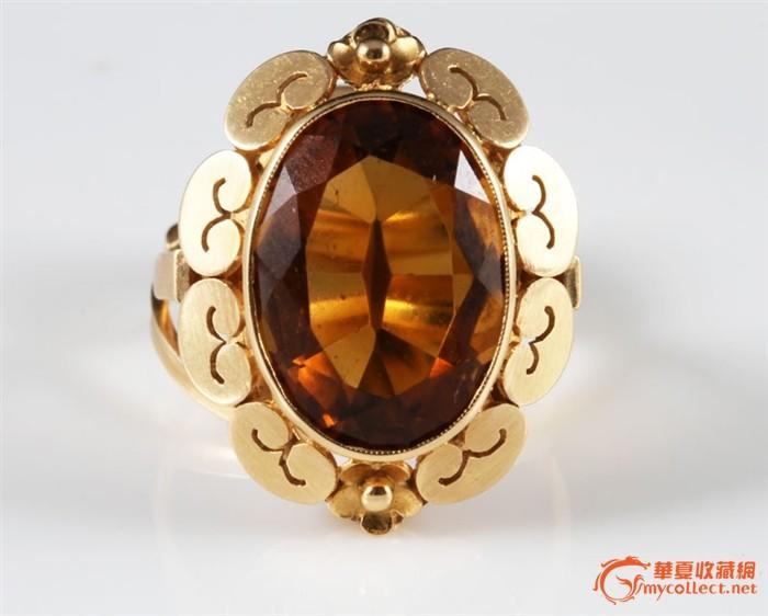巨无霸菱形切割-18k金橙茶晶豪华戒指