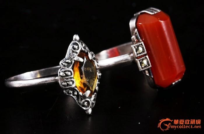 """830银""""印度红""""玛瑙 菱形切割黄晶戒指,2枚."""