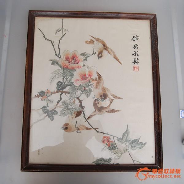 民国花鸟刺绣图