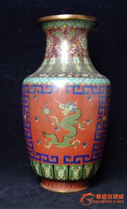 清铜胎掐丝珐琅龙纹瓶