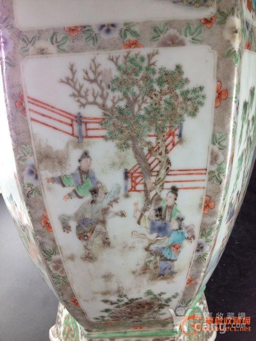 清 通景人物六角大花瓶
