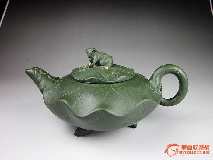 宜兴紫砂壶 观赏造型壶 260CC民国绿泥 荷叶青蛙图1-在线竞价-图片|图库|价格