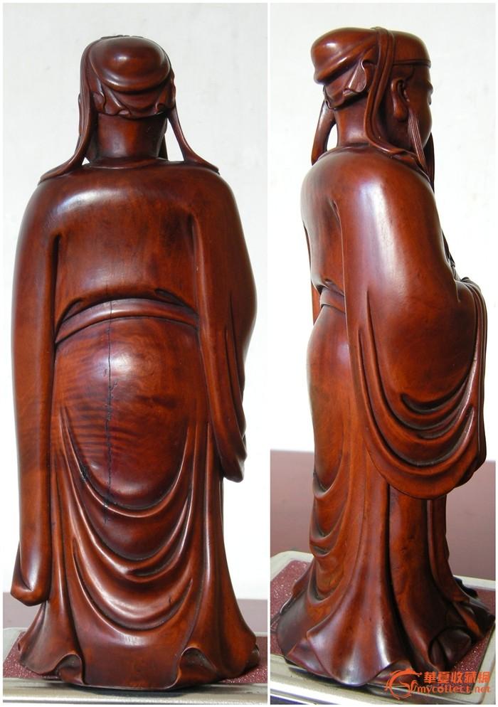 俗称千年矮)木雕关公站像