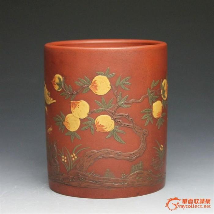 紫砂老茶壶 老杂件 老罐 杨季初制 通转泥绘 老笔筒 老朱泥图1-在线竞价-图片|图库|价格