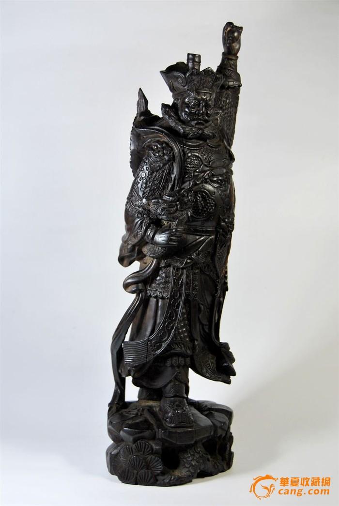 清代木雕精品天王像_在线拍卖