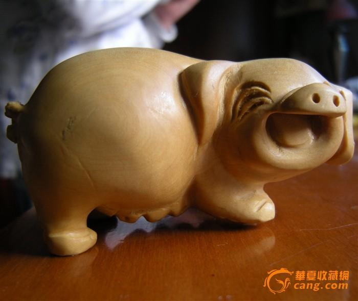 千年黄杨)木雕招财猪手把件图1-在线竞价-图片|图库