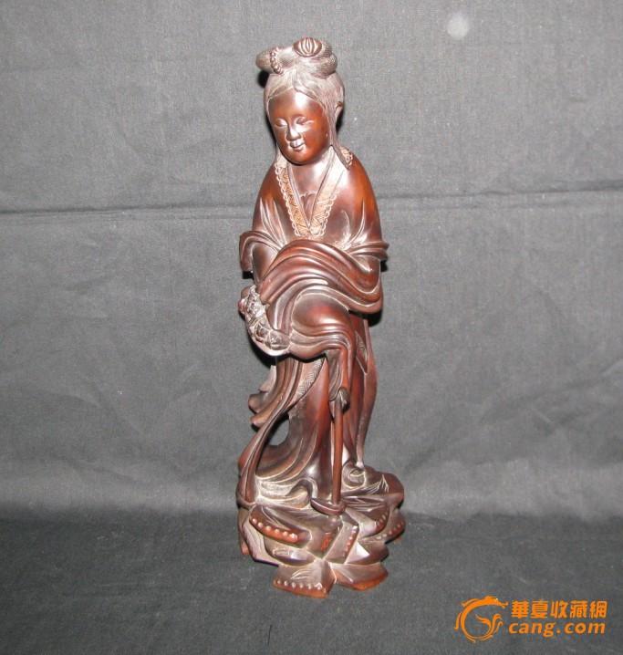 收藏级精品木雕--侍女人物摆件