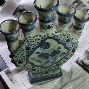 民窑,大明万历年制款,清末民初青花五管瓶