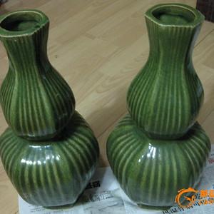 绿釉。老葫芦大瓶。包老