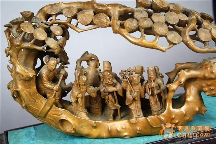 超大号罕见精雕黄杨木雕八仙过海大摆件连座