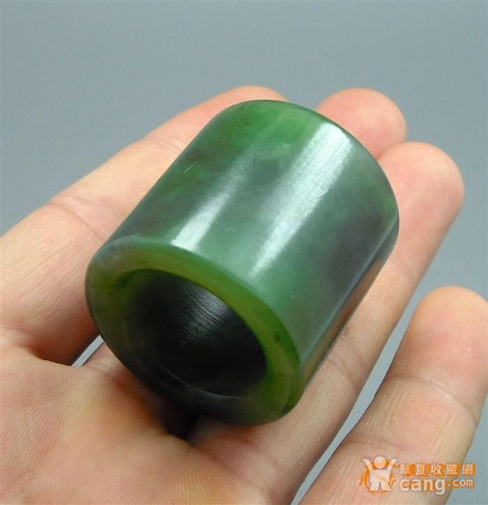 【油润】50克和田菠菜绿碧玉扳指图3