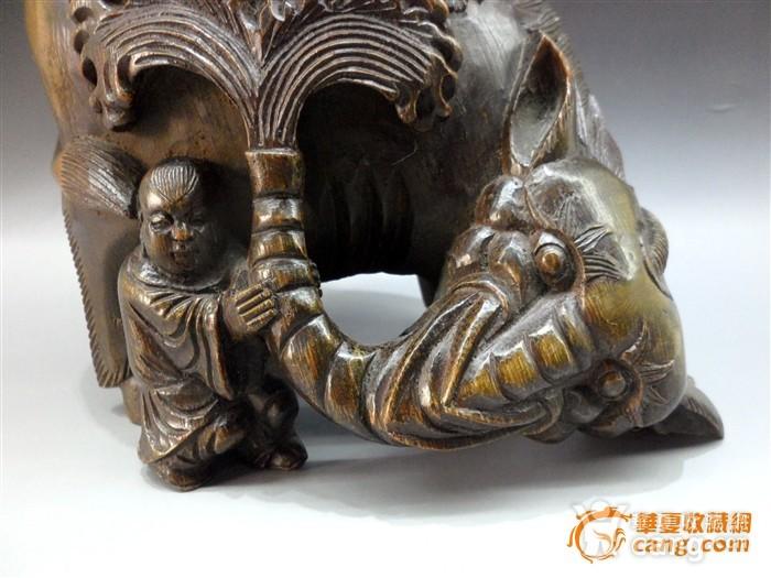 竹根雕 骑象罗汉