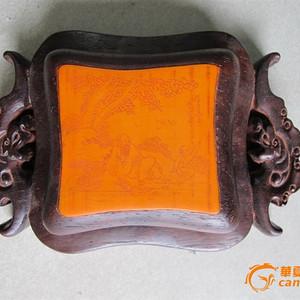 鸡翅木镶竹黄印尼盒