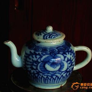 清道光青花缠枝纹茶壶(包老到代)