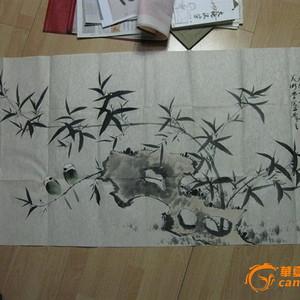 霍春阳四尺整张花鸟竹石图