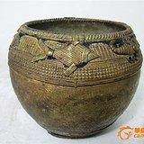 清代铜雕鱼篓罐