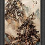 精品:著名山水画家靳耀华老师《松下闲亭待客来》+好字画