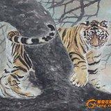 鲁克信、鲁超(父子合作)工笔虎[福寿图] 好字画