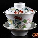 江西瓷业公司 3件套 粉彩 花卉 茶盏